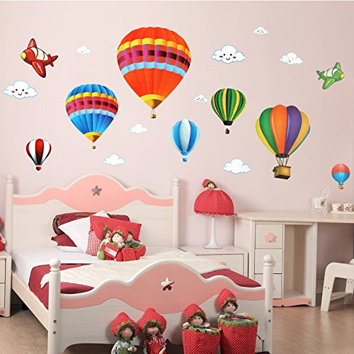 Hot Air Balloon and Airplane Wall Decals