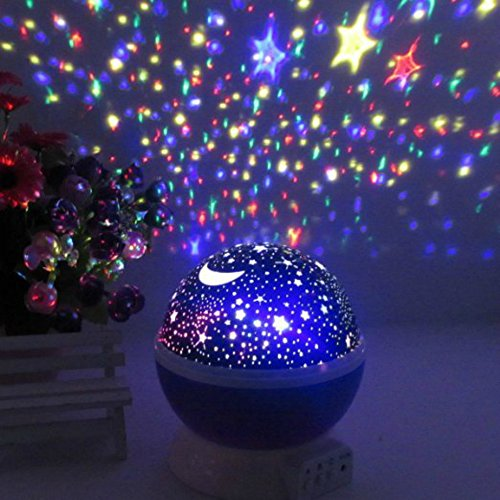 Amazing 4 Color 360 Degree Moon U0026 Star Projection Light