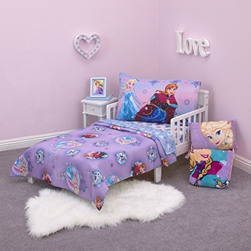 Make A Disney Frozen Themed Bedroom With 4 Piece Toddler Bedding Set