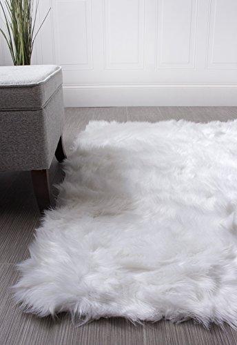 Soft Faux Sheepskin Nursery Rug Ivory White