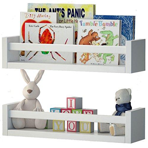 Set Of  Nursery Room Wall Shelf White Wood